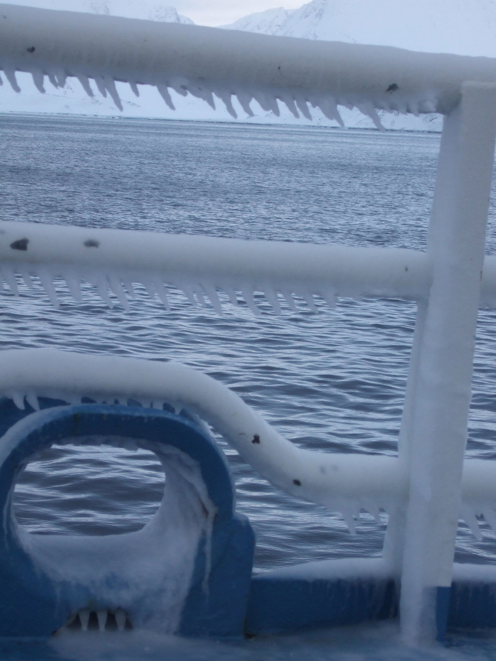 Ice on research vessel Lance