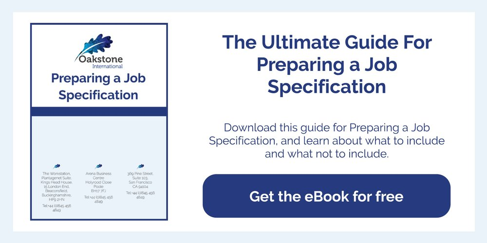 oakstone international executive search preparing a job specification