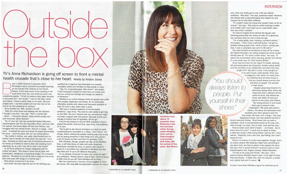 Sunday Express S Mag, Mindbox, Anna Richardson Interview, 14th Jan