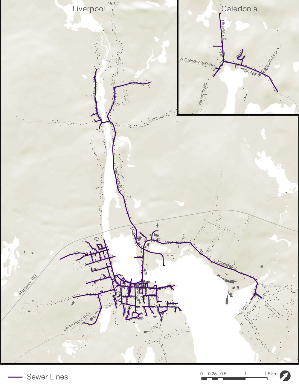 This map shows the location of existing sewer lines