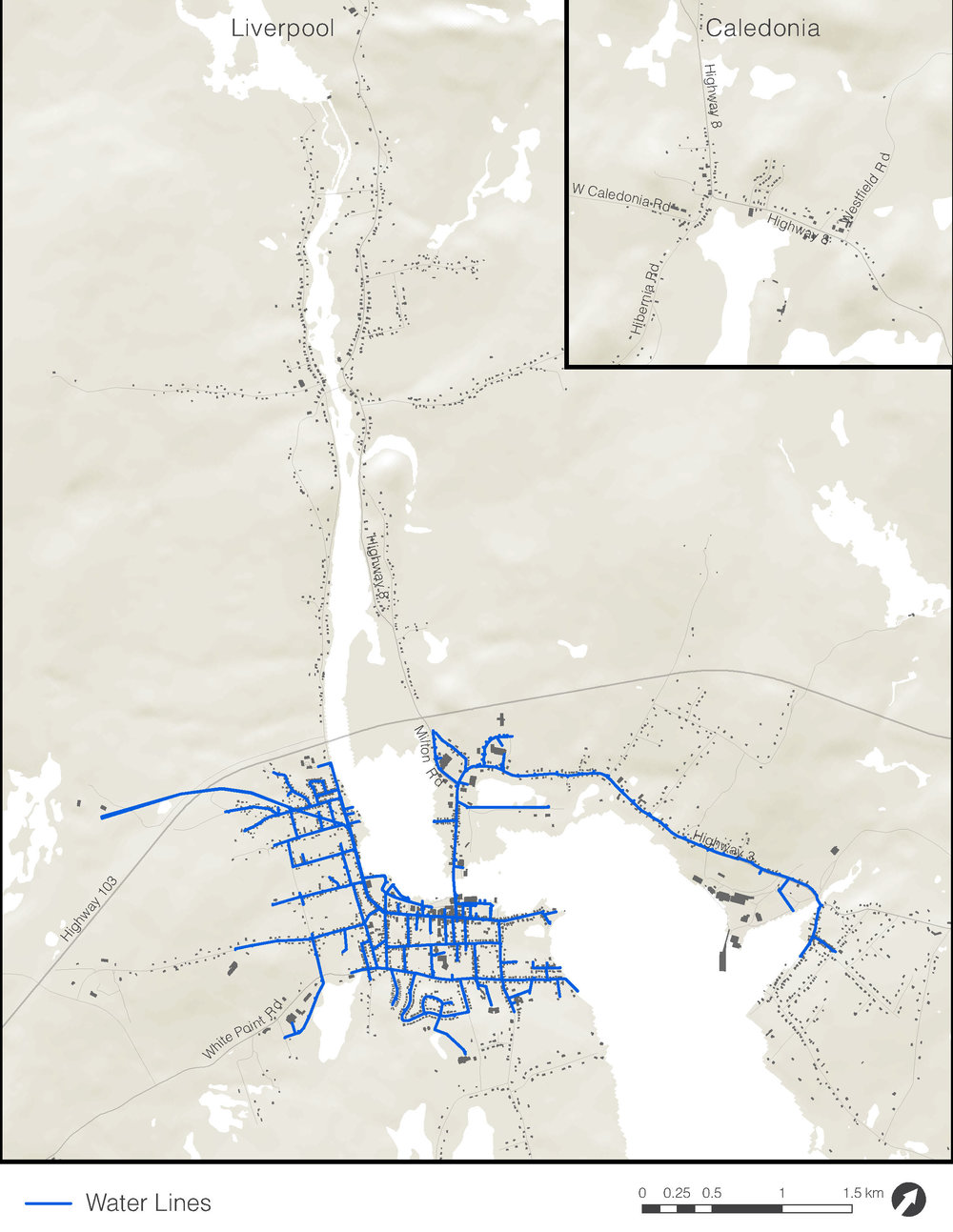This map shows the locations of existing municipal water lines