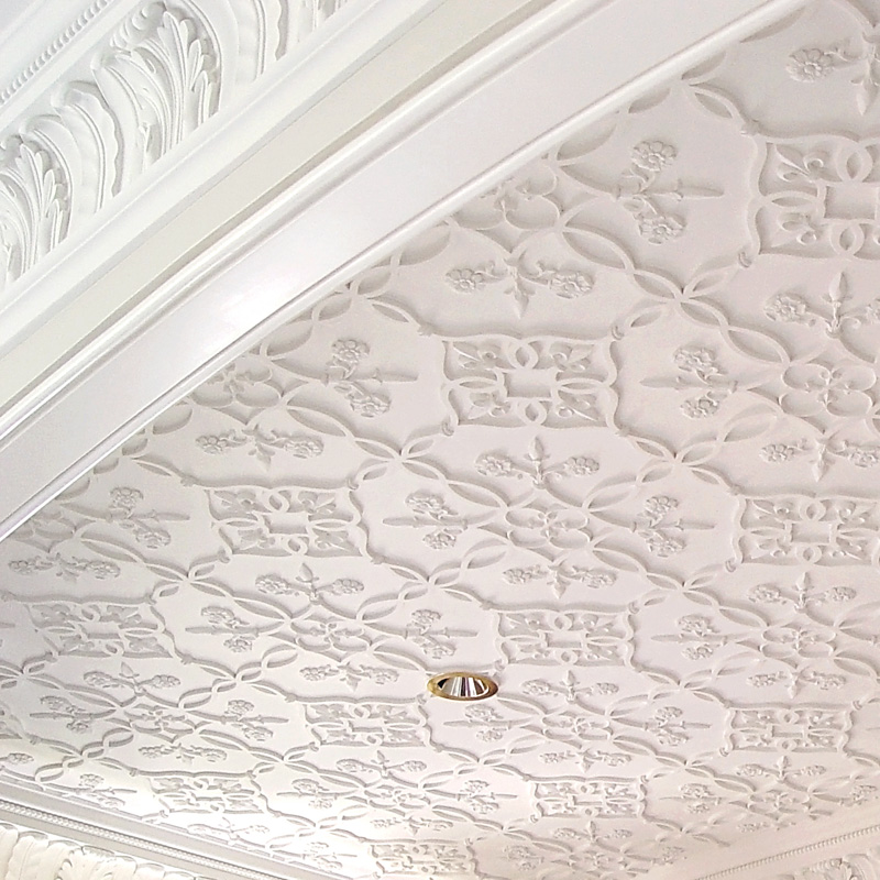 Decorative traceries & ceiling systems - In assembling our catalogue of ceiling designs, we have studied many historical examples and are pleased to offer them as standards. When considering a particular ceiling design, it is important to review your ceiling plan and decoration choices with one of our staff to ensure that all of the correct pieces are being ordered for your particular requirements.We can modify any ceiling design to conform with room-specific conditions such as vaults, curves and placement of lighting or home comfort system components.DOWNLOAD PDF