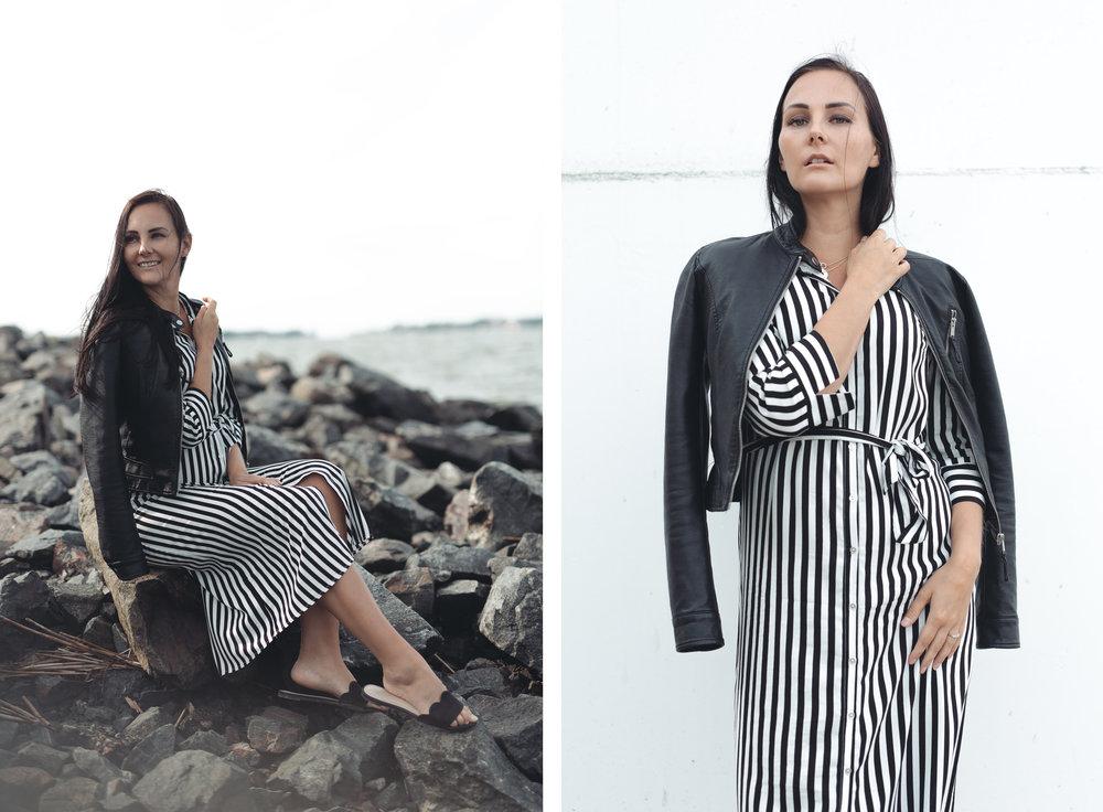 Outfit: Nahkatakki: VERO MODA, Mekko: ONLY, Sandaalit: H&M