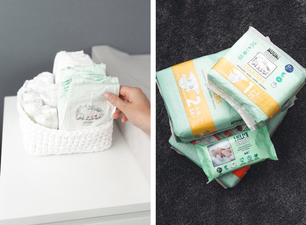 Suomessa tehdyt Muumi Baby vaipat.