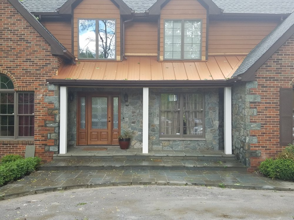 Full Masonry Services... Brick and Stone Facing with Flagstone Patio and Concrete Driveway.jpg