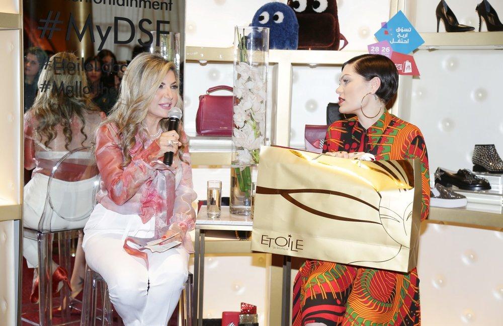 Jessie J and Ingie Chalhoub at Etoile La boutique store at MOE.JPG