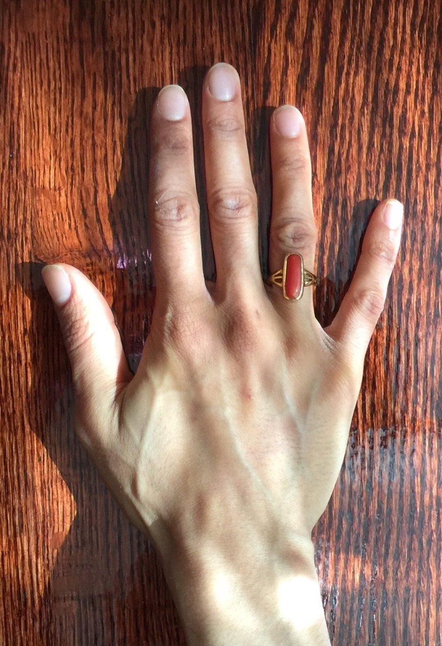 "CLXXVIII. In This Body, I Will Trust -     I thought I would be wearing an engagement ring on my right hand's ring finger. I thought I would have my male relatives dunk red and ivory bangles in milk before they ran my hands and wrists ever so daintily through the hoops.     Instead a ring made just for me has been dunked in milk and I'm wearing this coral, almost fittingly, pumpkin spiced stone on my right hand's ring finger. This is a game changer; and when I say that, I hope that it is a game changer in more ways than one.    The stone touches my skin no matter how it falls. It feels large and foreign. I keep swiveling it around and around, and I attempt to remove it before remembering that I'm not supposed to. That and my knuckle is a kind of speed bump that prevents it from slipping off. But I do end up taking it off, without fully realizing it, because it feels so strange on my finger. I guess this is good practice for a wedding ring.     They tell me I'll get used to it. Keep it on always, they say. Keep it on in the shower too. I haven't showered with it on yet because I had to bathe before I could wear it, which was yesterday morning and it's still dark outside at 6 a.m.     I thought I would have mustard yellow turmeric paste applied to my skin to achieve that bridal glow. Instead, I'm lamenting the fact that Kiehl's turmeric skincare only includes a mask and not a facial moisturizer. I'm on the hunt for a new face cream to prevent my naturally dry skin from drying out more during the upcoming months of cooler temperatures.     What this ring has given me so far is an odd affinity for my Indian identity. The stone's saffron color does well to place me squarely in the princely court of actor Ranveer Singh for his award winning performance in Bajirao Mastani, which I only just saw a year later.    Standing in the eastward direction while putting on the ring made me feel as though I was performing surya namaskar, a sun salutation that when performed in the morning must be done facing eastward and on an empty stomach. Yesterday morning I had successfully emptied out my rotund anorexia-recovering stomach somewhat prior to putting on the ring. Too much information? Not enough, never enough. You'll never understand.     I'm hoping my finger plumps up a bit if and when I gain so that the ring doesn't swivel so much. It feels like an extra appendage. And whenever that day materializes, we'll make another trip to the highly Indian demographic locale miles away to have the band stretched and molded.     On that day I'll include myself in the dining experience at the local authentic Punjabi corner joint. I'll eat the vegetable filled circular bread that is pan fried in nondescript oil, just as I once did. Hopefully then I'll trust my body. Trust that it won't blow up out of proportion.     In my body, I will trust. Trust that it will stave off hunger and signal satisfaction. Trust that if and when I do gain, that extra mass that's not really extra because there is no such thing as being superfluous, will aliquot itself to where my body needs it.     This ring may have no start and no end unless of course we see it from a bird's eye view, in which case there is a start an end from the top and the bottom. And that gives me hope, because my eating disorder had a beginning and it most definitely has an end. I have to end it, but hopefully this ring will do as they say and aid me on this treacherous path.     In my body I will trust, that it will stave off fullness by means of contracting colons. I will trust it to pack on pounds, hell, an ounce, where it sees fit. In my body I trust to keep my hunger at bay - to not reach the point of SOS in the form of a whining and wheezing stomach that sounds more akin to a sickly leper than a tigress's growl.    I've been told on more than one occasion that I am the ""Mai Bagho"" of my family. She was a female warrior who later became the bodyguard of the tenth Sikh Guru after going into battle on a cohort of 40 against the Mughals. If Sikh men are considered lions, the literal translation of the surname, ""Singh,"" then the women are at par. And I need to growl.    I trust that my body will growl. I trust that my body will not only fight, but lead the fight, even that one waged against my mind."