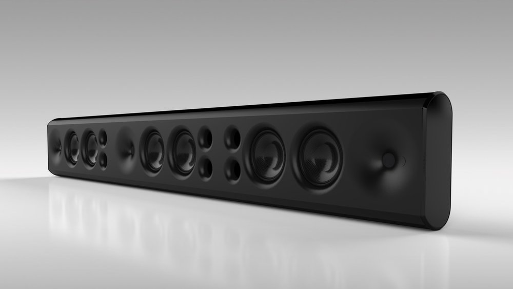 sb75 3-CHANNEL PASSIVE SOUNDBAR BLACK GRILLE CLOTH REMOVED - FRONT VIEW