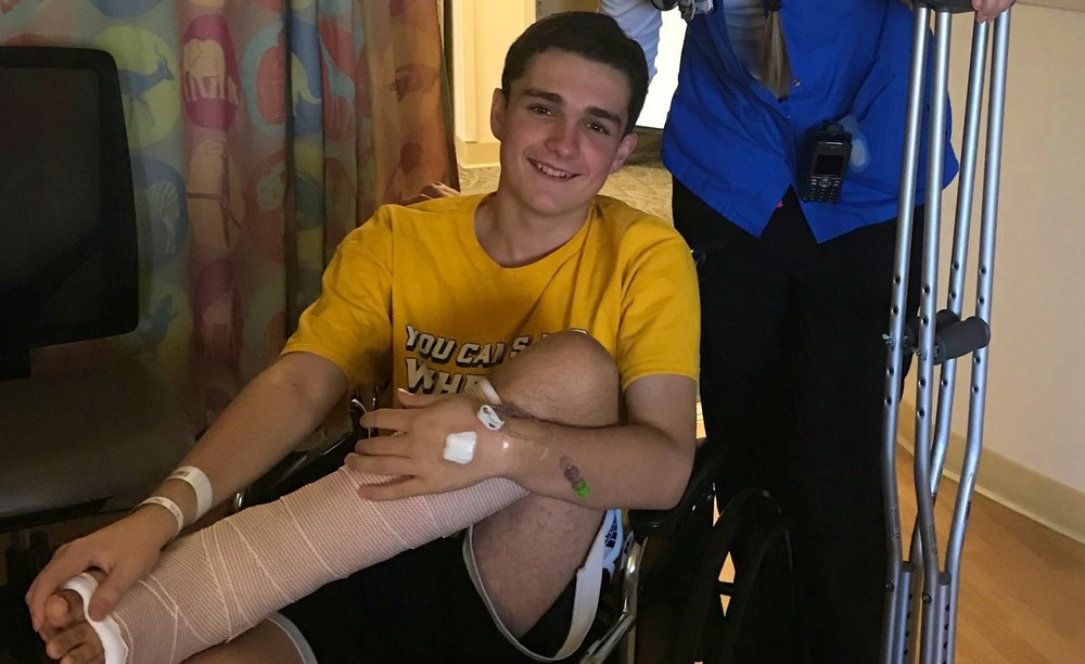 Sam in the hospital after his second ankle surgery.