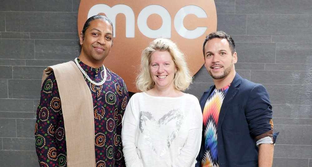 Photo caption: (l to r) Jaivant Patel of Jaivant Patel Dance, Debbie Kermode, Chief Exec and Artistic Director of Midlands Arts Centre, Johnny Autin of Autin Dance Theatre. Image courtesy of Deniz Soezen.