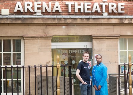 Photo caption: (l to r) Jaivant Patel of Jaivant Patel Dance, Neil Reading, Venue Manager of Arena Theatre. Image courtesy of Crimson Rain..