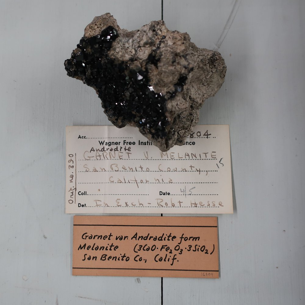 """""""Melanite  is generally quite black, a beautiful black Garnet has been found at Franklin N Jersey exactly resembling that from Norway. It occurs in rhombic dodecahedrons, BB it fuses alone, into a brilliant black globule."""""""