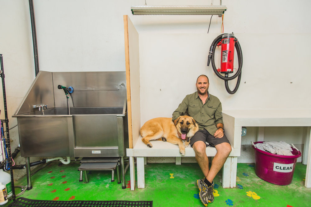 Sean Dewil sits next to the grooming station with a large dog by his side at Dirty Dog Daycare & Grooming.