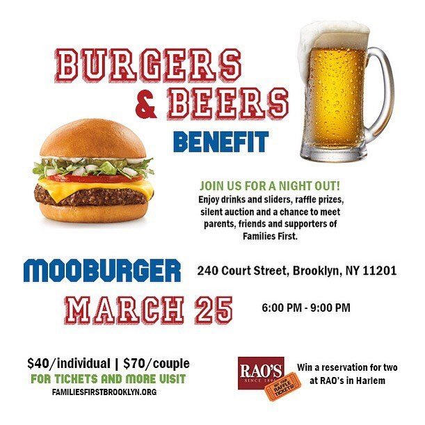 Link for tickets in bio! 🍔 #fundraiser #brooklyn #mooburger #fun #parents #cobblehill #familiestfirst