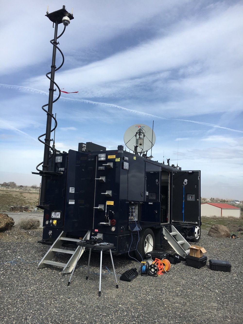 The Oregon National Guard's Civil Support Team brought out an impressive mobile communications unit for Tuesday's graded Columbia Generating Station nuclear emergency exercise. This unit was set up in Umatilla County, where state teams were in the field taking soil, water, and vegetation samples as part of the exercise. -