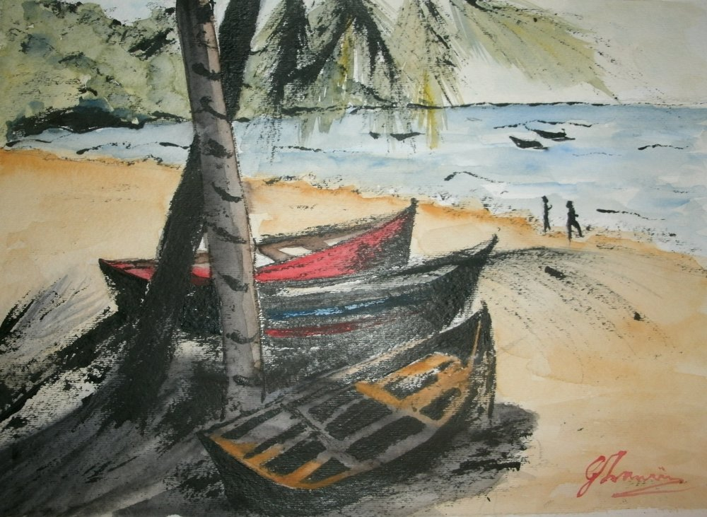 Pirougues-P2018 - An Original Painting of Pirougues docked at Maracas Beach in Trinidad