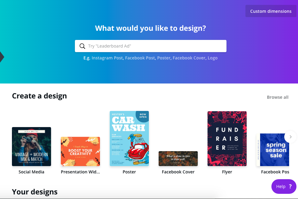 2. Using Canva by gafra.org. Click on the custom dimensions button to input the size of the   printable   or hover over the samples below to see if any has the size you want or simply choose a type of document.