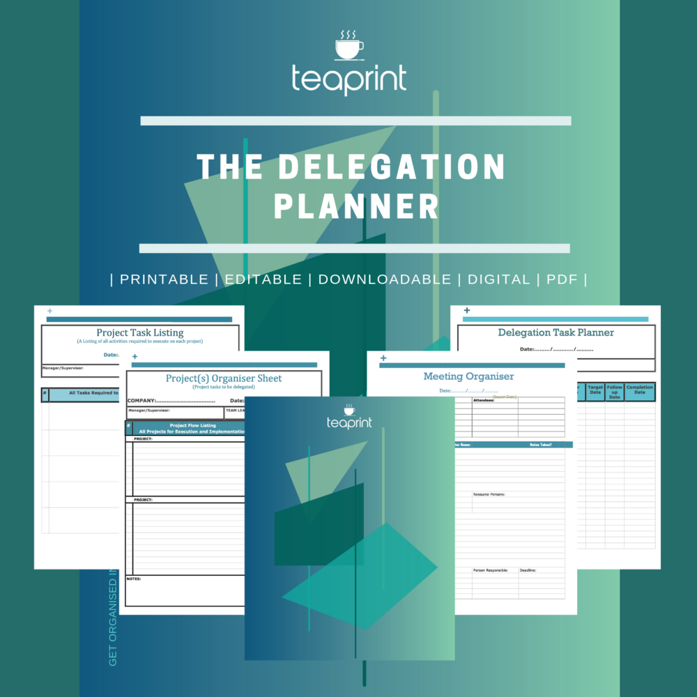 A delegation planner for the business owner available at www.gafra.org or www.etsy.com/shop/teaprint.