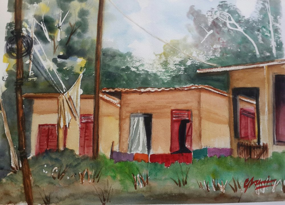 Gran Couva Huts-GCH2017 - Watercolour painting of old plantation huts on the way to Gran Couva in Trinidad