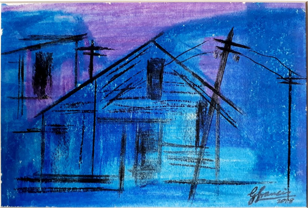 BLUE ABSTRACT BUILDING - Original abstract watercolour painting of a building