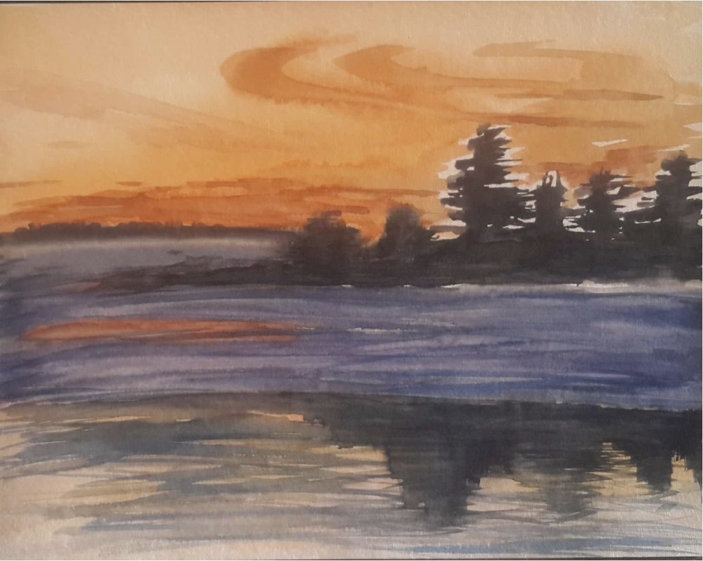 WATER & SUNSET REFLECTION - WASR2016 - Original watercolour abstract water reflection painting
