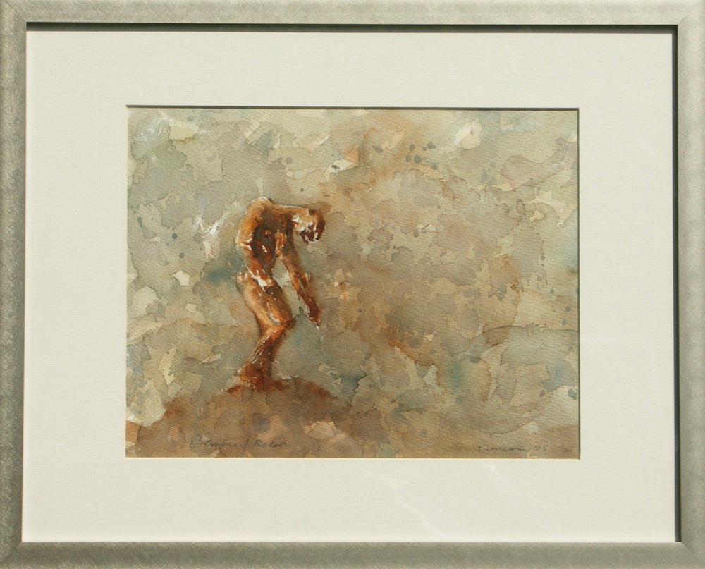 "Rodin's Shade   Watercolor on paper  14"" x 10½"""
