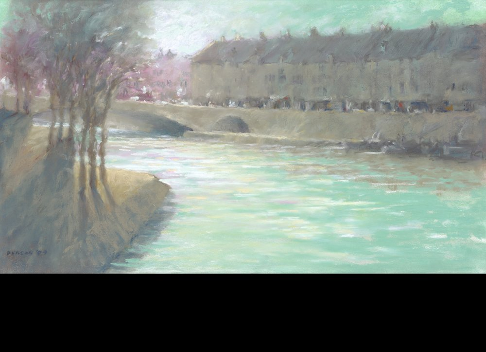 The Seine in silver and green
