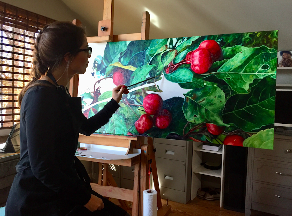 Painting crab apples is an on-going theme of mine. I enjoy painting things around me - and in my hometown crab apples are everywhere along the stretch of beach past our house. Ripe or unripe - I love all the twists of the leaves and the changing of their colors.