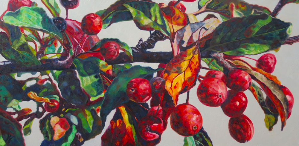 "Crab Apples V  Oil on wrapped canvas  24"" h x 48"" w x 1.5"" d"