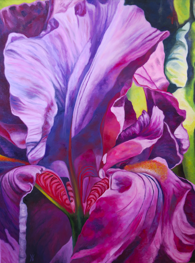 """Iris #1  Oil on canvas  40"""" h x 30"""" w  Available at Gallery Piquel in New Hope, PA"""