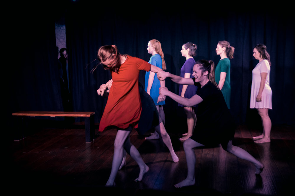 Dancers (front left to right): Melissa Anderson, Erica Reynolds, and Jillian Gasper, (back left to right) Sarah Bethel, Allyson Lowis, Saxony Matousek, and Arye Shannon-Carmichael Photography: Jon Clay Photography