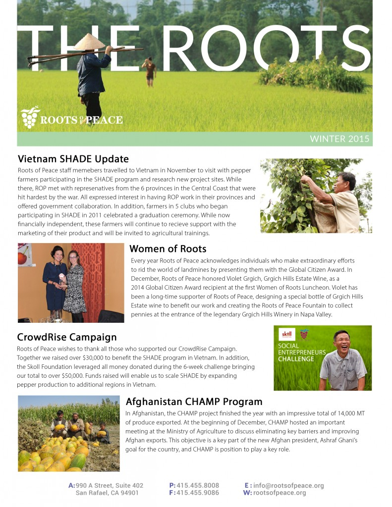 The Roots Winter 2015 newsletter