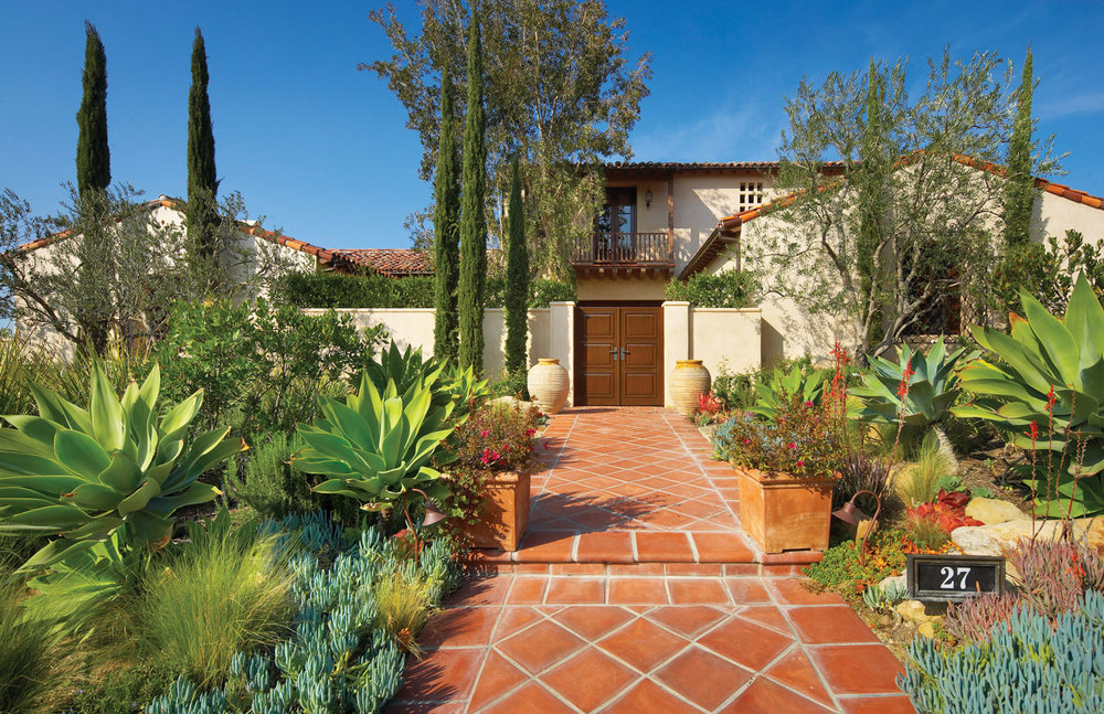 Contemporary-Spanish-Front-Entry-Courtyard-Tile-Path-Corbin-Reeves.jpg