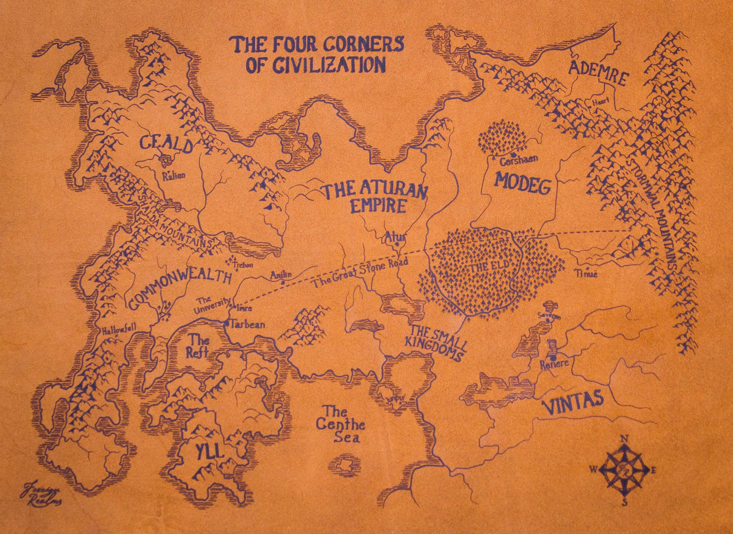 Kingkiller Chronicles Map The Kingkiller Chronicle Map on Suede — Foreign Realms