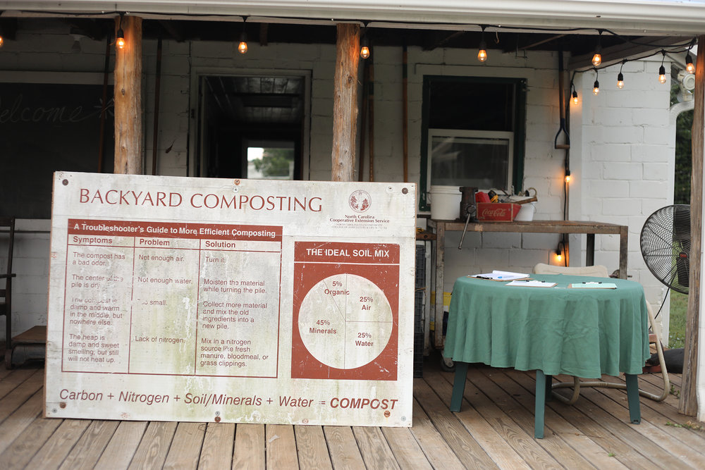 Rieves is set up at Renfrow Farms to teach a class on home composting. Photo by Charles Lybrand.