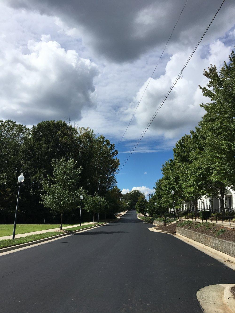 A newly resurfaced Matthews road.