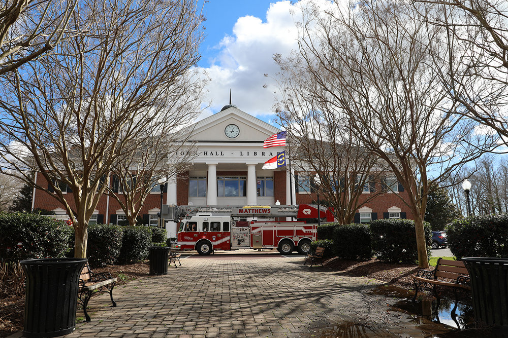 There was a little excitement at Town Hall yesterday, and for once it didn't involve a council meeting. Around 1 PM emergency services were called after the alarm system went off. Three Matthews fire trucks answered the call. After an inspection of the premises, it was determined there was a fault in the sprinkler system which caused the alarm to go off. -