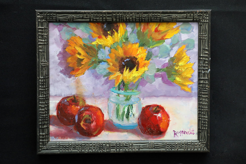 Sunflowers and Apples byJean RupprechtOil on Canvas -