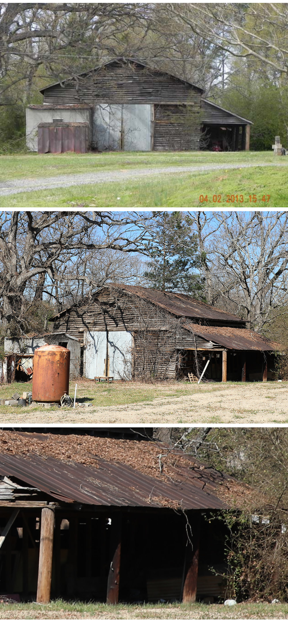 The Overcash Barn: Presumably built circa 1921, at the same time as the home next to it. The barn sits on a parcel rezoned in 2018 (application 2017-663) and now owned by Willton-BB Matthews Owner LLC. The property was approved to become a 350 unit multifamily development. -