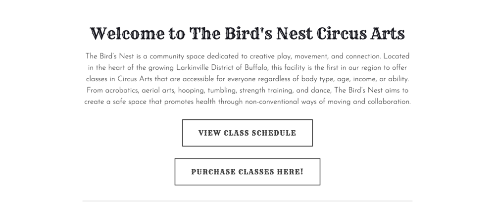 "Landing Page: The Bird's Nest Circus Arts. ""The Bird's Nest is a community space dedicated to creative play, movement, and connection. Located in the heart of the growing Larkinville District of Buffalo, this facility is the first in our region to offer classes in Circus Arts that are accessible for everyone regardless of body type, age, income, or ability. From acrobatics, aerial arts, hooping, tumbling, strength training, and dance, The Bird's Nest aims to create a safe space that promotes health through non-conventional ways of moving and collaboration."" Button 1: ""VIEW CLASS SCHEDULE."" Button 2: ""PURCHASE CLASSES HERE!"""