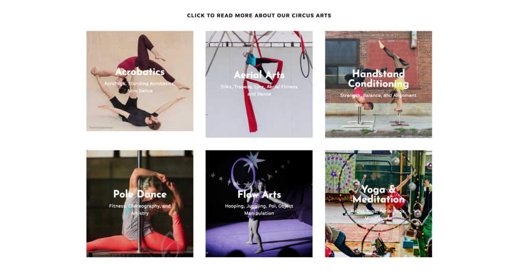 "Landing Page: The Bird's Nest Circus Arts. ""CLICK TO READ MORE ABOUT OUR CIRCUS ARTS."" ""Acrobatics. Aerial Arts. Handstand Conditioning. Pole Dance. Flow Arts. Yoga & Meditation."""