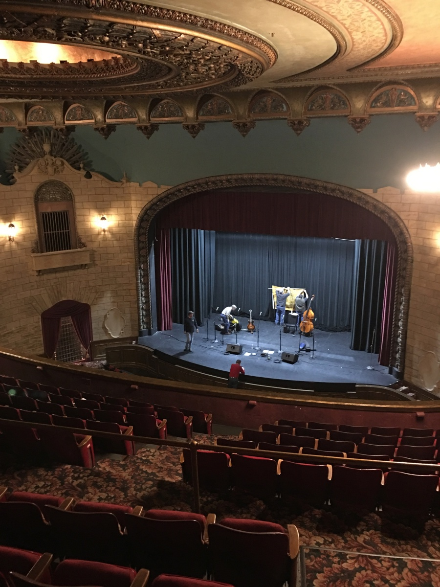 View of the stage during sound check from the top of the balcony.