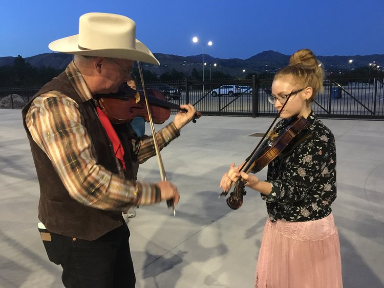 Parking lot jam session after the Great American Wild West Show in Salt Lake City.