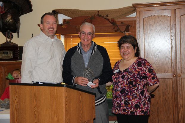 Photo courtesy of Mowers Photography Anthony Abell, center, of Geneseo, a long-time volunteer at Geneseo's Good Samaritan Village, was presented with the 2013 GIFT Community Caring Award. With Abell is Mike Ricketts, left, president of the GIFT Foundation, and Annette Koehler, activity director/volunteer coordinator for Good Samaritan.