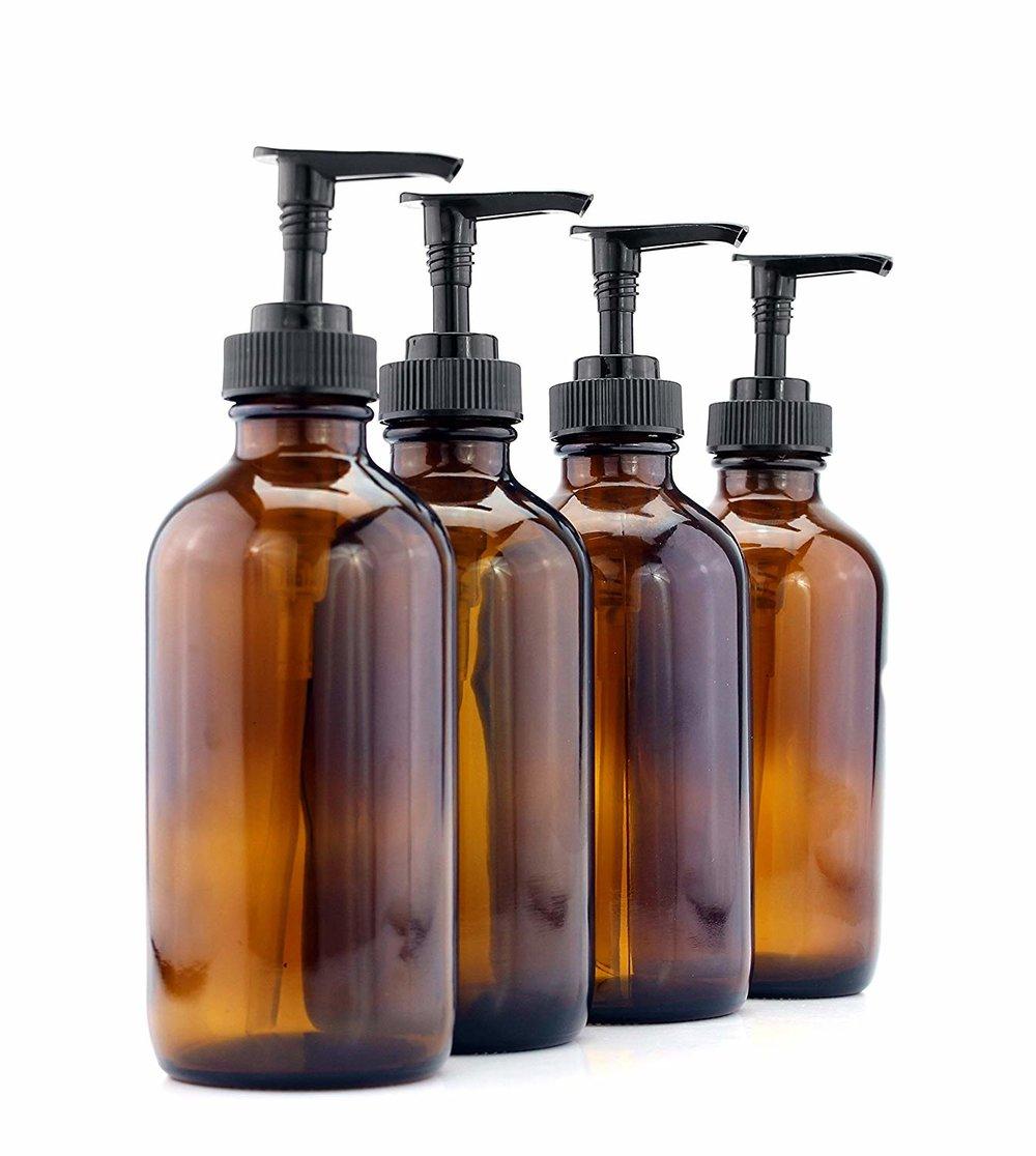 Amber Pump Bottles