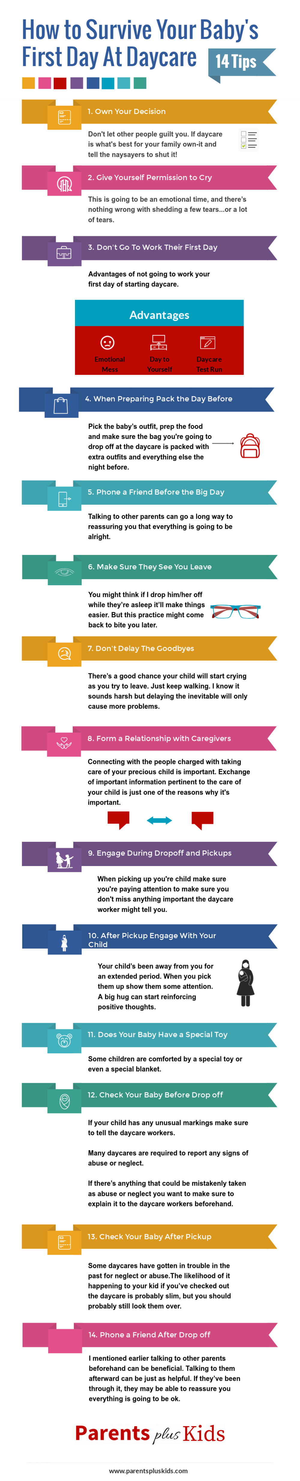 Leaving your baby at daycare for the first time can be difficult. Learn some tips and advice to survive leaving your baby at daycare. | first day of daycare for your infant or toddler |  #newmom #newdad #motherhood #newbaby #newtoddler #daycare #infographic