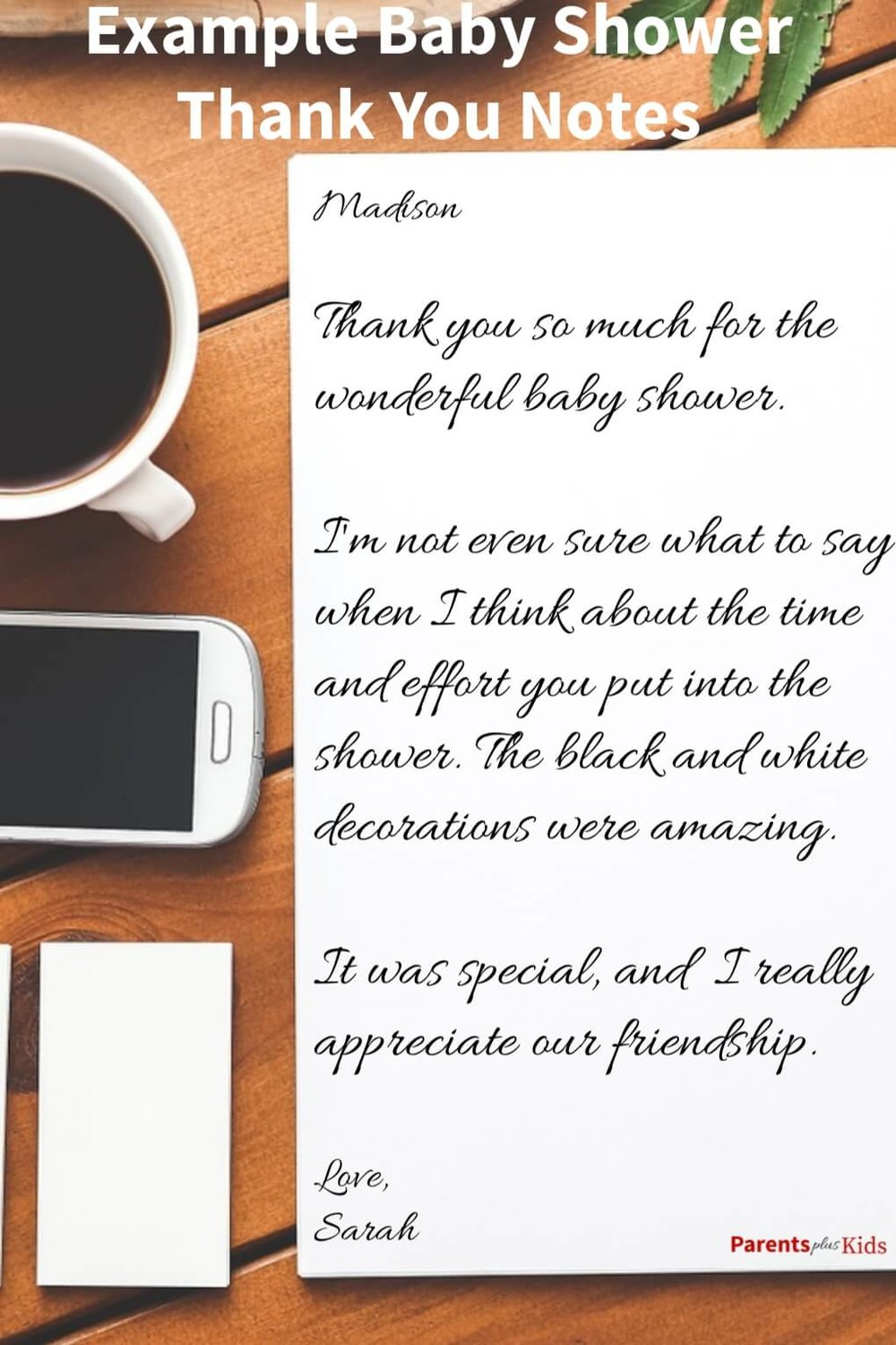 This is an example of a baby shower thank you card. This is sure to help you the next time you're trying to figure out baby shower thank you cards wording.  Find more examples and figure out how to craft the perfect card after your special event.  Click through to see… #babyshower #babyshowernotes #newmom