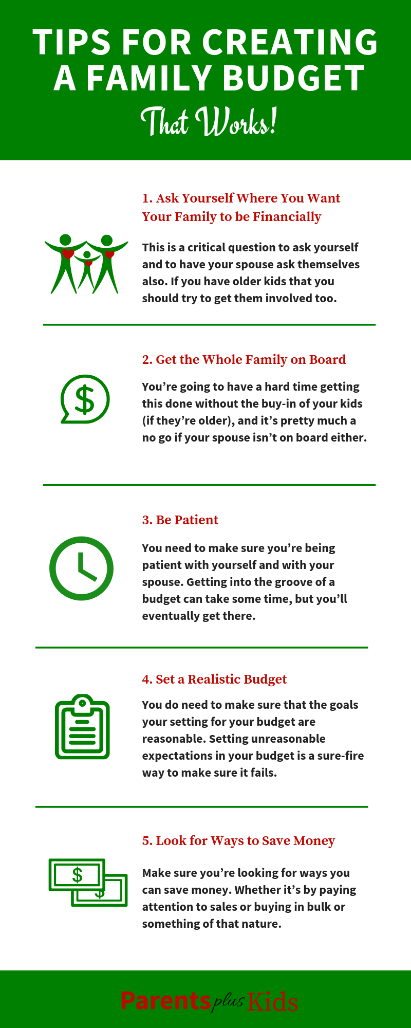 Tips for creating a family budget that works. (Infographic) In this blog post you're going to learn how to do a family budget. We give you tips, tricks, hacks, and some advice to saving money and getting your household budget done. We show you where to start your budget and how to make it work for you.