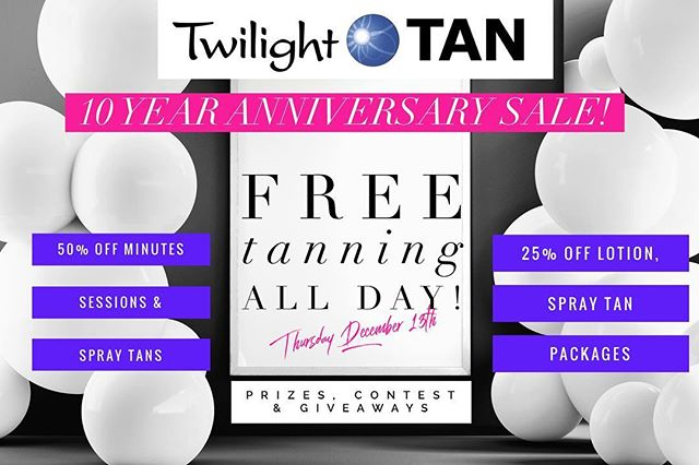 HUUUGEEE NEWS👏🏽 This Thursday December 13th is Twilight Tan's 10 Year Anniversary 🙃 To Celebrate we are having FREE TANNING ALL DAY! And a gigantic sale!! . •50% OFF Minutes,Sessions & Spray Tans! •25% off Lotions & Spray Tan Packages •Tons of Prizes and Giveaways •Gift Bags & Gift Certificates Available . Help us spread the word for a chance to win a lotion Prize Pack🛍 •Share & Like this post ✔️ •Tag 3 friends ✔️ •Follow us on Insta & Fb! . Donate to our food/toy/clothing drive and we'll give you a packet of lotion for FREE😉 Anything helps! . Stay tuned for another Big Announcement @midnight.body  #beatthewinterblues #vitamind #brantfordfoodbank #twilighttanningsalon #midnightbody  @midnightbody #meetmeatmidnight #freestuff #contest #prizes #twilights10yearanniversary #sale #decemeber13 #brantford #ancaster #hamilton #simcoe #brant #norfolk #nailsalon #lashsalon #medispa