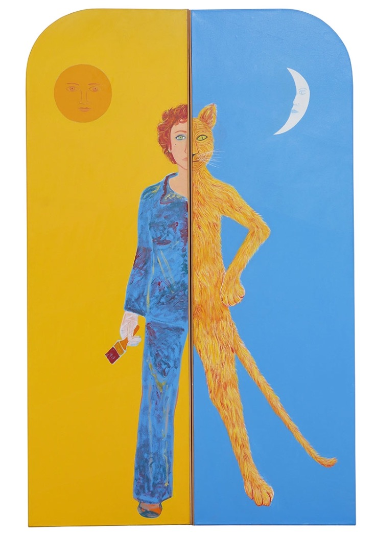 Joan Brown , Harmony, 1982, oil enamel on canvas, 96 x 60 inches (two panels), © The Joan Brown Estate.